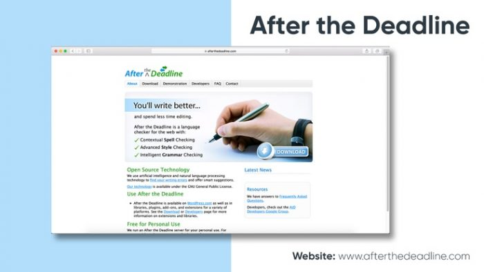 Giao diện phần mềm tìm lỗi sai Afterthedeadline