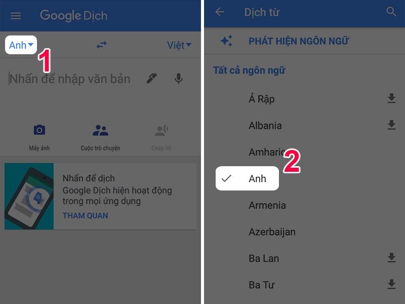 Phần mềm dịch tiếng Anh Google Translate