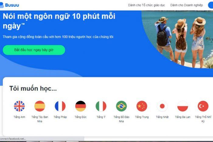 Trang web học tiếng Anh miễn phí Busuu