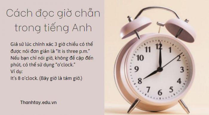 Cách đọc giờ chẵn trong tiếng Anh