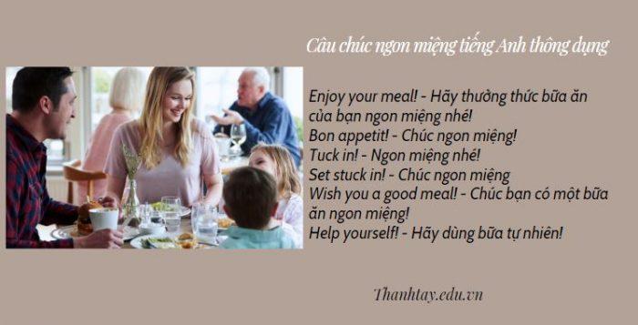 Câu chúc ngon miệng tiếng Anh thông dụng