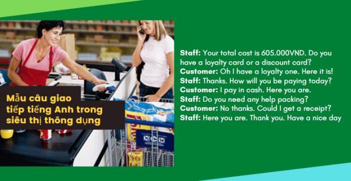 Đoạn hội thoại tiếng Anh trong siêu thị