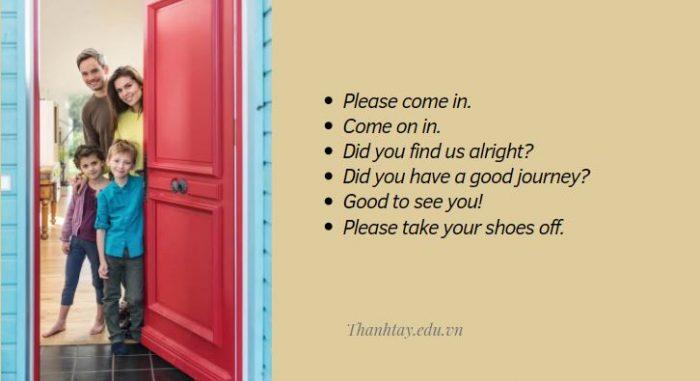 Những mẫu câu giao tiếp tiếng Anh khi khách đến nhà