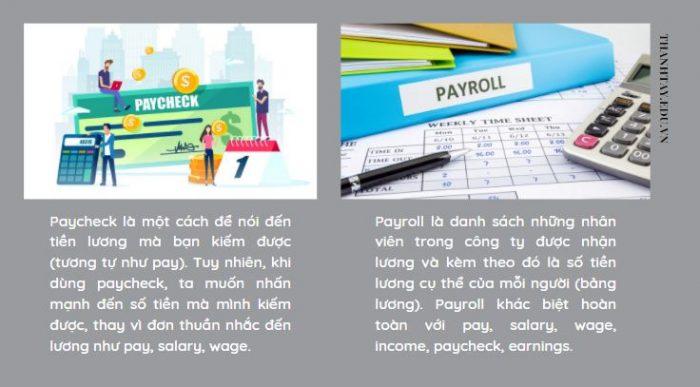 Sự khác biệt của paycheck và payroll