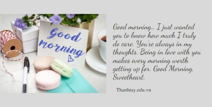 Lời chúc buổi sáng bằng tiếng Anh ngọt ngào cho người yêu