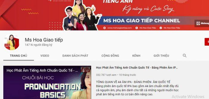 Kênh youtube học tiếng Anh Ms Hoa Giao Tiếp