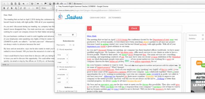 Website kiểm tra ngữ pháp tiếng Anh Scribens