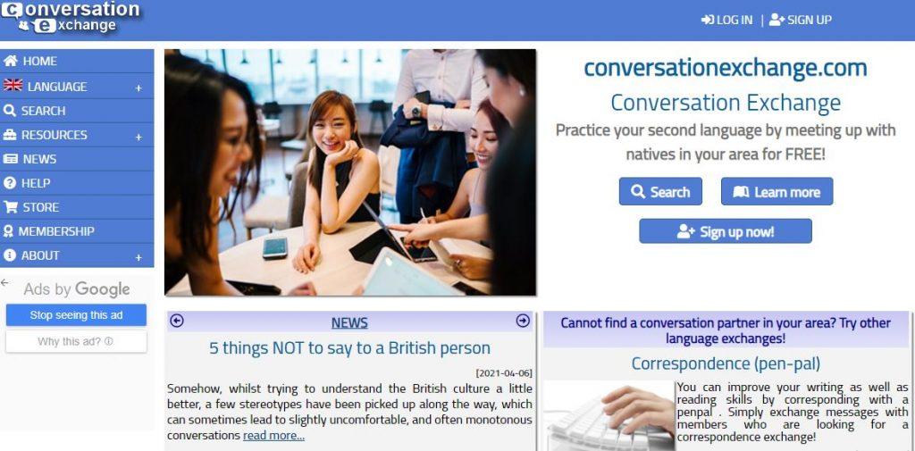 Conversationexchange.com - Website tự học Speaking IELTS miễn phí